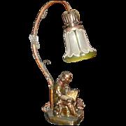 Armor Bronze Figural Desk Lamp w Art Nouveau Glass Shade
