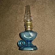 Miniature Kerosene Oil Finger Lamp - Embossed Blue Glass