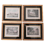 SALE Set 4 Antique English Architectural Engravings in Eglomise Gilt Frames