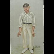 REDUCED Original Vanity Fair / SPY Print ~Cricketer ~ Robert Abel ~ 1902