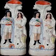 SALE Pair Antique Staffordshire Figure  Flatback Spill Vases