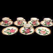SALE Vintage Copeland Spode Demitasse Cups and Saucers ~ Camellia Japonica ~ Artist Signed