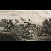 SALE 19 C Engraving - Civil War Nurse Leaving the Hospital Tents For The Battlefield