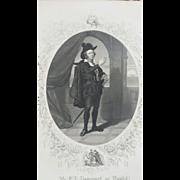 SALE 19C Shakespeare Hamlet Engraving - Mr. E.L. Davenport