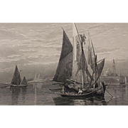 19th Century Venice Italy Engraving - Fishing Boats on the Lagoon