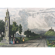 19th C Tombleson Hand Colored Steel Engraving -High Cross Near Bonn