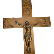 SALE Wood Crucifix Art Deco Style