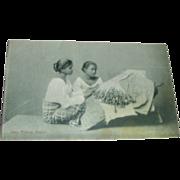 Postcard - Lace Making, Ceylon