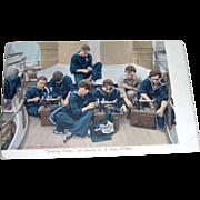 Postcard - Sewing Time on board U.S. Man O'War