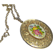 SALE Floral and Gold-tone Locket with Chain
