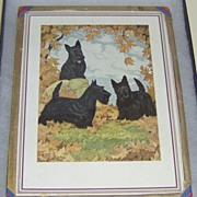 SOLD Three Scotty Dogs in Fall Leaves print by Barrie Rennie 37