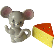 Mouse with Cheese Wedge salt and pepper shakers