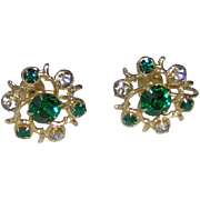 SALE Green and Gold-tone Earrings by CORO