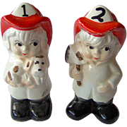 SALE Cute Boy and Girl Firefighter Salt and Pepper Shakers