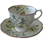 SALE White Dogwood cup and saucer by Royal Albert