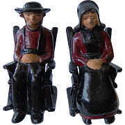 SALE Cast Iron Amish Couple Salt and Pepper Shakers