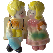 SALE Kissing Couple on a Bench - Salt and Pepper Shakers