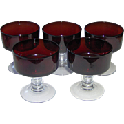 Luminarc Ruby Red Sherbert Dessert Glasses with Ball Stems