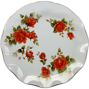 Large Glass Dish with Roses