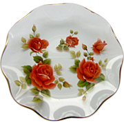 Decorative Glass Dish with Roses