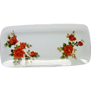 Decorative Rectangular Glass Dish with Roses