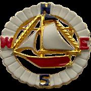 SALE Enamel Sailboat Brooch by Coro