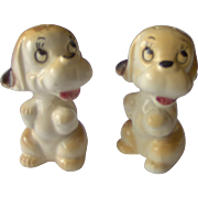 SALE Brown and White Dog salt and pepper shakers