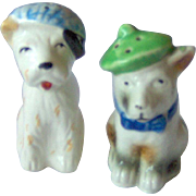 SALE Dogs wearing hats Salt and Pepper Shakers