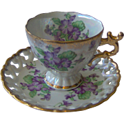 SALE Floral Cup and Saucer with purple flowers