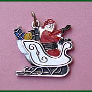 REDUCED Sterling Enamel SANTA Sleigh Full of Presents Christmas Charm