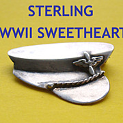 SALE WWII Sterling US Military PILOT Officer Hat Sweetheart Pin