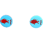Cool MODERNIST Enamel on Copper FISH Earrings