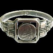 REDUCED RARE Art Deco Sterling St. Joseph Medal Ring