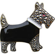 REDUCED Art Deco Sterling Enamel Marcasite SCOTTY Dog Pin
