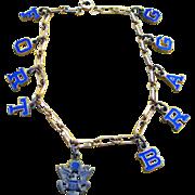 WW2 Gold Filled Enamel FORT BRAGG Sweetheart Bracelet
