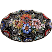 FAB! Signed Large Oval Floral Micro MOSAIC Pin