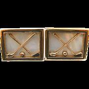 REDUCED 1960's Goldtone Mother of Pearl GOLF Club Cufflinks Golfer