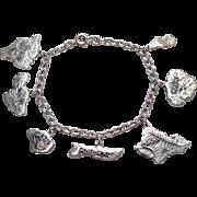 SOLD WWII Era Hawaiian Islands Sterling Charm Bracelet - 7 Hawaii Island Charms