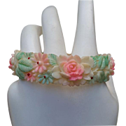 SALE C.1940 Molded Celluloid Bangle Bracelet Faux Carved Ivory Tinted Flowers