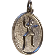 Vintage Sterling Silver BROWNIE Girl SCOUT Charm Pendant Scouting