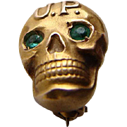 SOLD OLD 10K Gold UP Upsilon Rho SKULL Fraternity Pin Badge Green Eyes