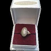 1930 English Silver WEDGWOOD Green Jasperware Mythological Cameo Ring in Orig Box