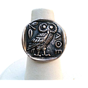 FAB! Silver OWL Ring on Ancient Athenian Coin