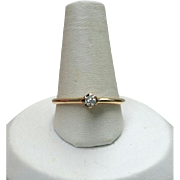 Antique 14K Ostby Barton Diamond Ring 7 1/2