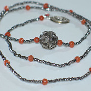 Artisan Necklace, Natural Coral Beads and Cut-steel Beads Necklace.