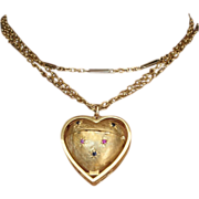 Vintage, Large 14k Yellow Gold Heart- shaped Locket/Pendant with Rubies and Sapphires.