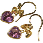 Amethyst Gold Earrings.  14k yellow gold with heart shaped amethyst.