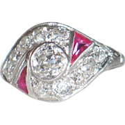 Original, Art Deco Diamonds and Rubies Platinum Ring.