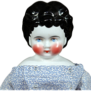"""16"""" Antique German China Child Doll with Very Round Apple Cheeks, Unusual Hairstyle"""