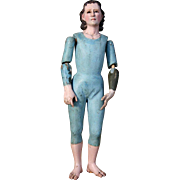Expressive Early Wooden Creche Figure